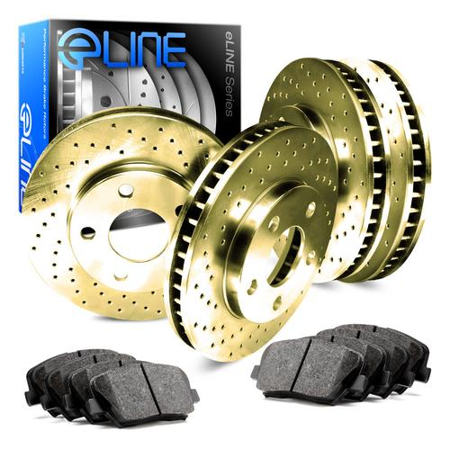 For 2003 GMC Sierra 1500 Front Rear eLine Gold Drilled Brake Rotors+Ceramic Pads