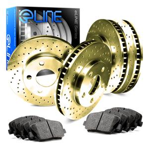 For 2014-2018 Acura RLX Front Rear eLine Gold Drilled Brake Rotors+Ceramic Pads