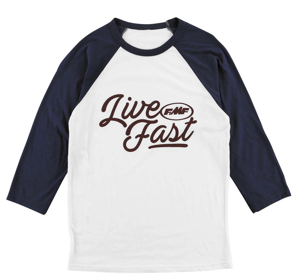 FMF Racing Live Fast Raglan Womens T-Shirt (White, Small)