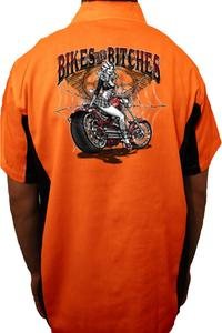 "Biker Mechanic Work Shirt ""Bikes And Bitces"" (3X)"