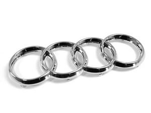 AUDI RINGS GRILLE EMBLEM BADGE W/ STRAIGHT CLIPS - CHROME (275MM X 95MM)