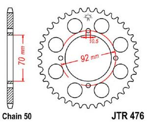 JT Sprockets Steel Rear Sprocket 44T 530 Pitch JTR476.44