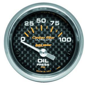 AutoMeter 4727 Carbon Fiber Electric Oil Pressure Gauge