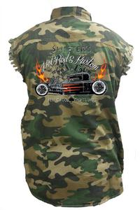 Men's Camo Sleeveless Denim Shirt Shifters Hot Rods Kustom Garage Denim Vest: (6XL)