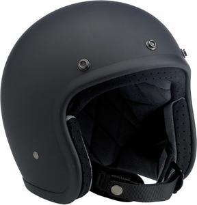 Biltwell Bonanza Flat Black Open Face Vintage Helmet Adult Size L