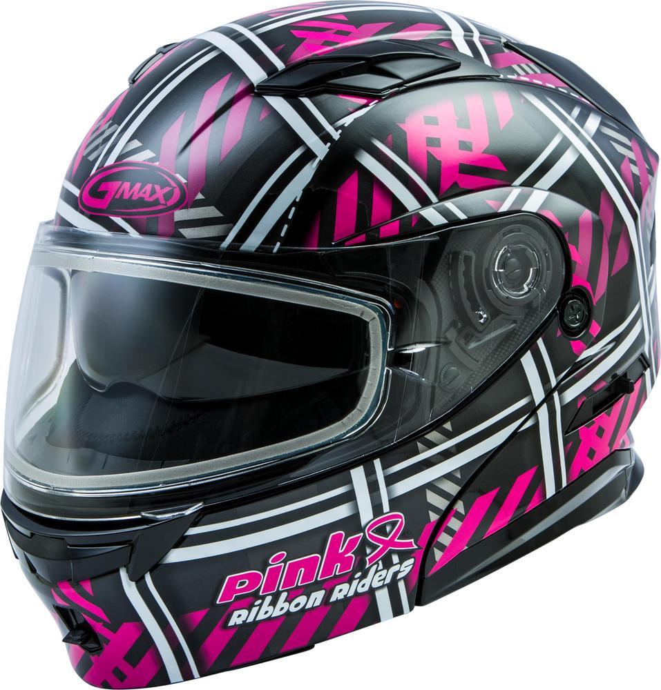G-Max MD-01S Pink Ribbon Riders Womens Helmet Black/Pink (Pink, Large)