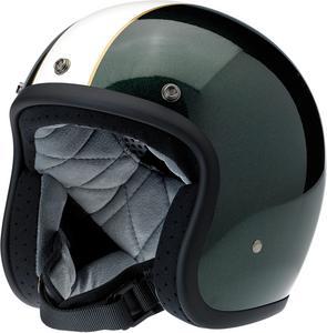 Biltwell Bonanza Racer Gloss Green/Cr??me Open Face  Helmet Adult Size XS