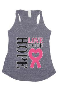 Women's Hope Love Faith Breast Cancer Awareness Tri Blend Tank: DENIM (SMALL)