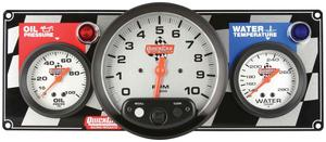 QUICKCAR RACING PRODUCTS White Face Gauge Panel Assembly P/N 61-6031