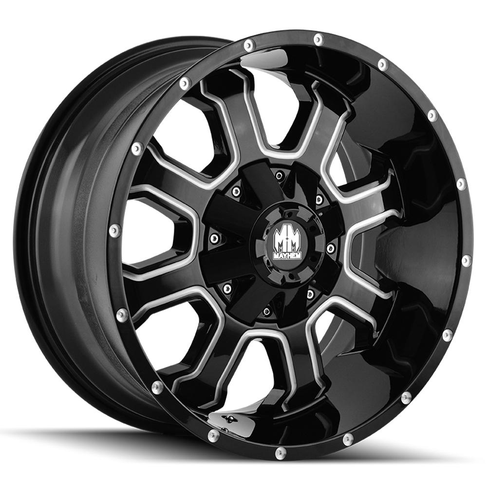 "4-Mayhem 8103 Fierce 20x10 8x6.5""/8x170 -19mm Black/Milled Wheels Rims 20"" Inch"