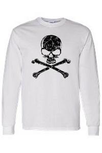 Men's/Unisex Biker Black Skull and Cross Bones  WHITE Long Sleeve T-shirt (Medium)