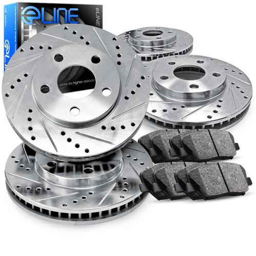 For 2005-2010 Ford Mustang Front Rear eLine Drill Slot Brake Rotors+Ceramic Pads
