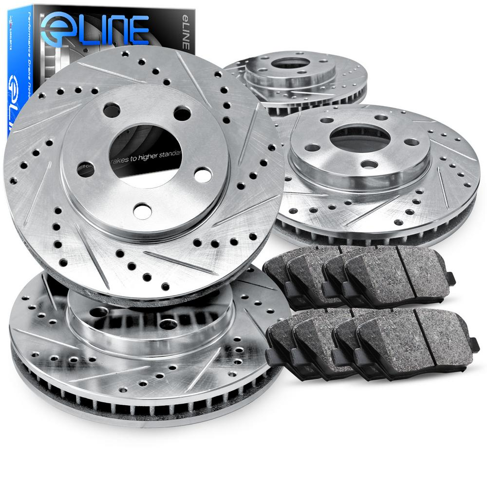 For Subaru Outback, Legacy Front Rear  Drill Slot Brake Rotors+Ceramic Brake Pad