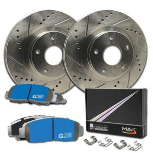 Max Brakes Front Supreme Brake Kit [ Premium Slotted Drilled Rotors + Ceramic Pads ] KM113231 Fits: 2006 - 2013 Mazda 6