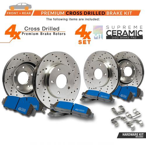 Max Brakes Front /& Rear Ceramic Pads KT069553-1