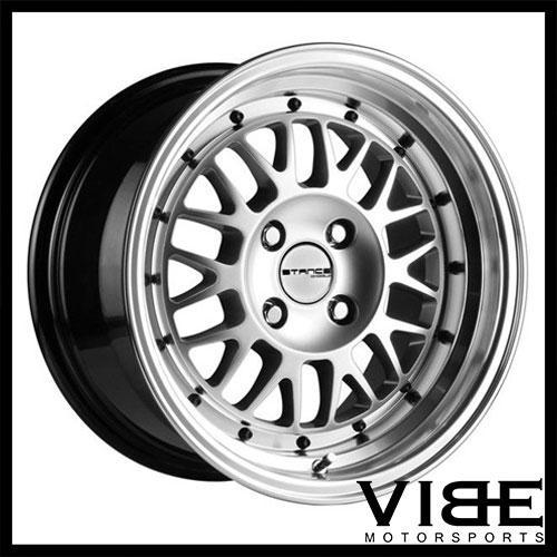 15 stance mindset 15x8 4x100 et25 silver mesh wheels rims fits 1998 3 Series Coupe 15 stance mindset 15x8 4x100 et25 silver mesh wheels rims fits honda civic si