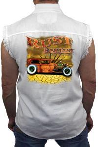 Men's Sleeveless Denim Shirt Rusty Bucket Auto Group: WHITE (XL)