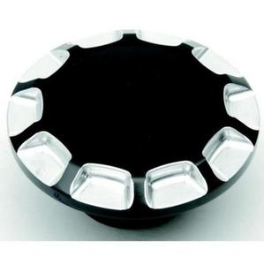 Drag Specialties 0703-0391 Straight-Cut Gas Cap - Non-Vented - Re-Machined Gloss Black