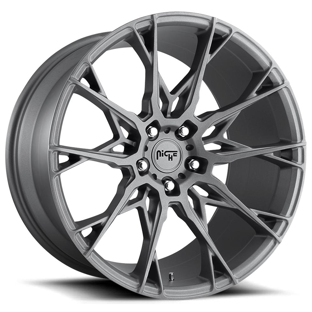 "Niche M182 Staccato 22x9 5x120 +25mm Gunmetal Wheel Rim 22"" Inch"
