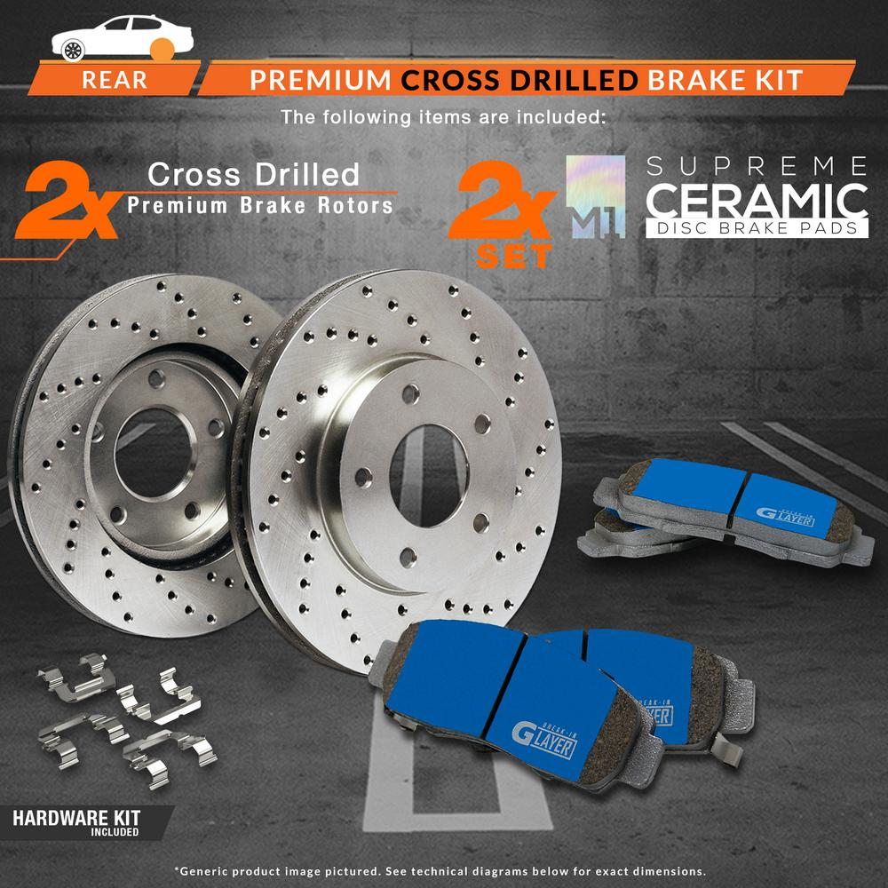 Max Brakes Rear Supreme Brake Kit [ Premium Cross Drilled Rotors + Ceramic Pads ] KM020922 Fits: 2003 - 2006 Jeep Liberty Wrangler