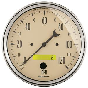 """AutoMeter 1889 Antique Beige Electric Programmable Speedometer 5"""" 120 MPH"""