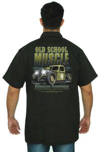 Men's Mechanic Work Shirt Old School Muscle American Rattitude BLACK (Large)