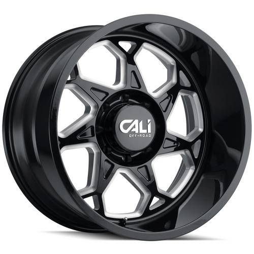 "4-Cali Off-Road 9111 Sevenfold 20x10 6x135 -25Black/Milled Wheels Rims 20"" Inch"