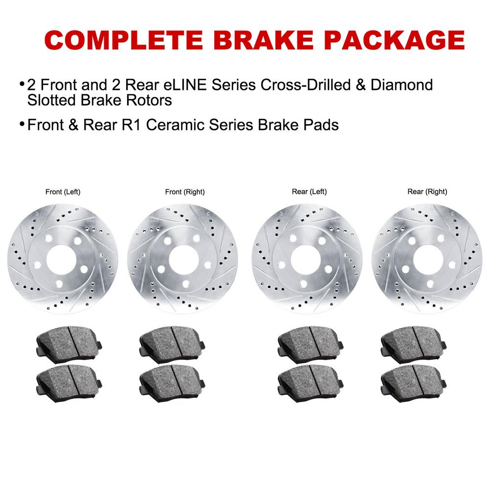 For 1999-2001 BMW 750iL Front Rear eLine Drill Slot Brake Rotors+Ceramic Pads