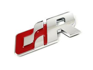 VW R LINE TRUNK EMBLEM BADGE - RED/CHROME