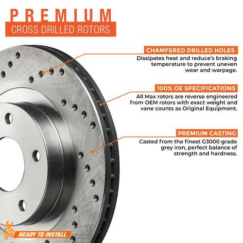 Max Brakes Front /& Rear Premium XD Rotors and Metallic Pads Brake Kit TA061123-8
