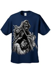 Men's/Unisex OVERSIZED Biker Grim Reaper Rider NAVY Short Sleeve T-shirt (4XL)