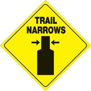 Voss 419 TN YR 12x12in. Reflective Trail Sign - Trail Narrows (Yellow/Black)