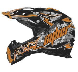Cyber Adult Motorcycle MX ATV Helmet UX-28 Lightning Black/Orange XS
