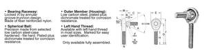 """Rod End Ball Joint Male with Stud 1/4"""" - 28 Right"""
