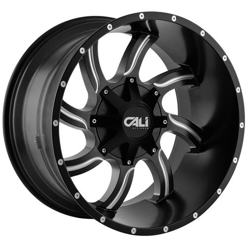 "4-Cali 9102 Twisted 20x12 8x6.5""/8x170 -44mm Black/Milled Wheels Rims 20"" Inch"