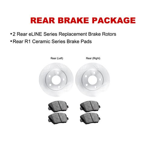 For 2009-2010 BMW Z4 Rear eLine Plain Brake Rotors + Ceramic Brake Pads