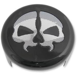 Drag Specialties 2107-0250 Horn Cover - Black with Chrome Split Skull