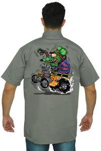 Men's Mechanic Work Shirt Crazy Hot Rod Rat: GREY (5XL)