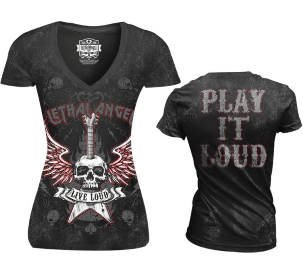 Lethal Threat Live Loud Womens V-Neck T-Shirt (Black, Medium)