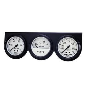 AutoMeter 2328 Autogage Mechanical White Oil/Volt/Water Black Console