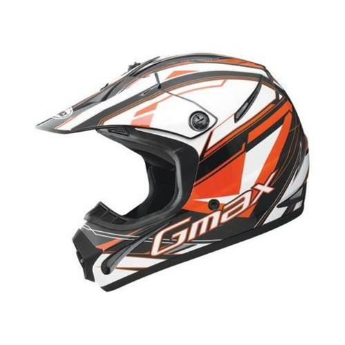 G-Max GM46.2Y Traxxion Youth Helmet Black/Orange/White (Orange, Large)