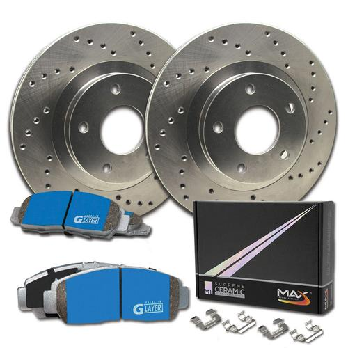 Max Brakes Front Supreme Brake Kit [ Premium Cross Drilled Rotors + Ceramic Pads ] KM026921 Fits: 2006 - 2011 Kia Rio | 2007 - 2011 Hyundai Accent