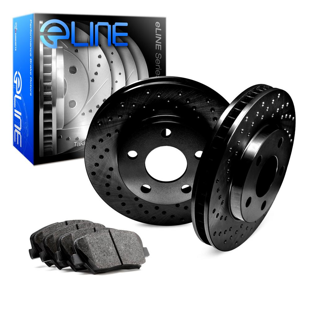 For 1997-1999 Toyota Camry Front eLine Black Drilled Brake Rotors+Semi-Met Pads