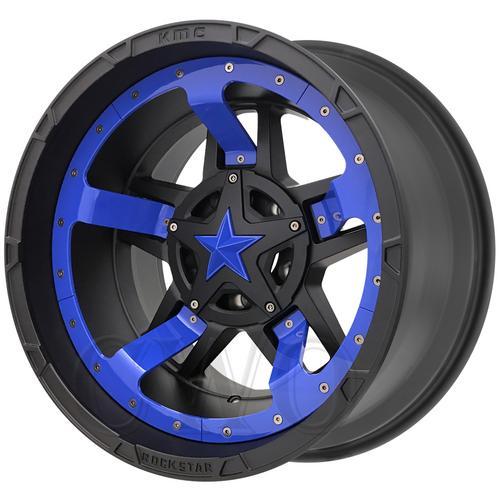 "XD827 Rockstar 3 17x8 6x135/6x5.5"" +20mm Black/Blue Mid Wheel Rim 17"" Inch"