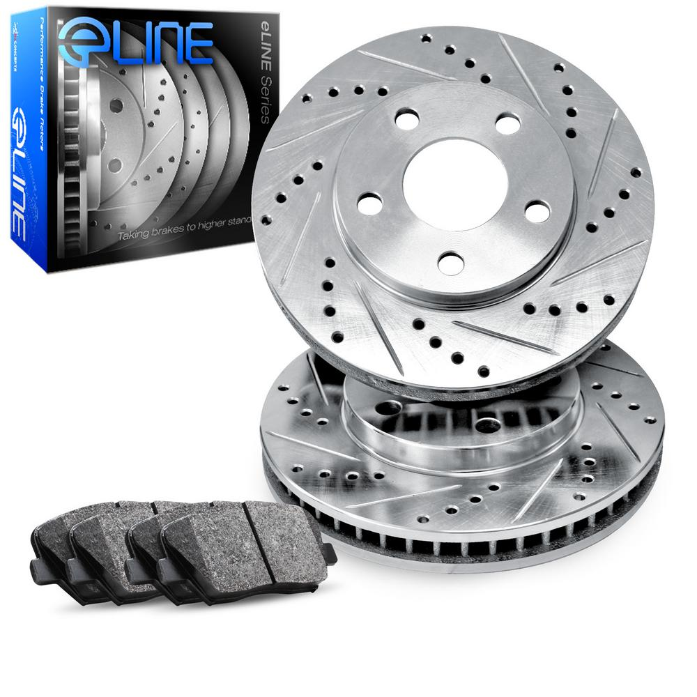 For 1997-1999 Ford F-250 Front eLine Drill Slot Brake Rotors+Semi-Met Brake Pads