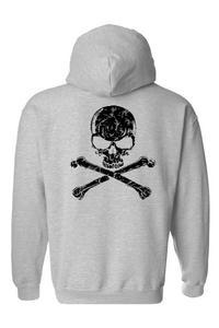 Men's/Unisex Zip-Up Hoodie Biker Black Skull and Cross Bones GREY (Medium)