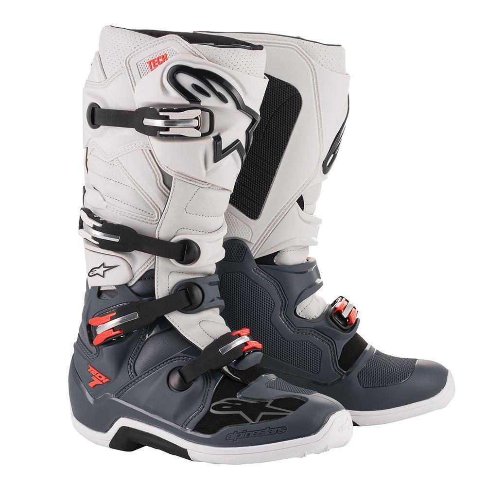Alpinestars Tech 7 MX Boots Dark Gray/Light Gray/Red (White, 16)