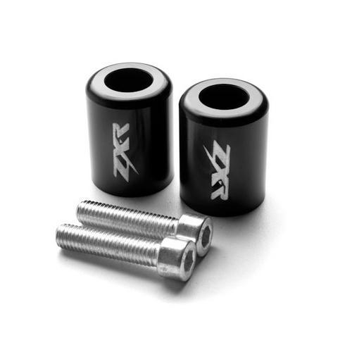 Krator Black Bar Ends ZXR Engraved Hand Grips Handlebar For 2003-2012 Kawasaki ZX6R-636