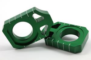 Works Connection Anodized Axle Blocks (Green) 17-128