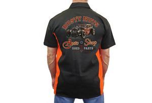 "Biker Mechanic Work Shirt ""Rusty Nuts"" BLACK/ORANGE (Medium)"